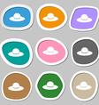 Woman hat icon symbols Multicolored paper stickers vector image