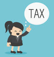 Business Woman pointing tax vector image