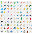 100 active life icons set isometric 3d style vector image vector image