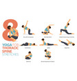 8 yoga poses for thoracic spine stretch concept vector image vector image