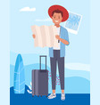 a cute male tourist character holding map vector image