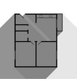 apartment house floor plans black icon vector image vector image