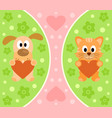 background with funny cartoon cat and dog vector image vector image
