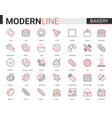 bakery flat thin red black line icon vector image vector image