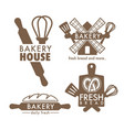 bakery shop isolated icons kitchen tools and bread vector image vector image