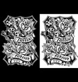black and white graphic tattoo machine and roses vector image