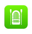 boat with paddles icon digital green vector image