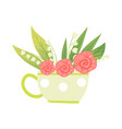 bouquet of pink flowers and lilies of the valley vector image vector image