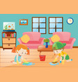 boy and girl cleaning floor vector image vector image