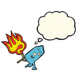 cartoon funny firework character with thought vector image vector image