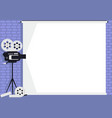 cinema camera on white screen and brick wall vector image