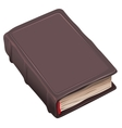 Closed old book in brown cover vector image