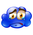Crying face on blue cloud vector image vector image