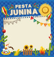 festa junina brazil june festival retro poster of vector image