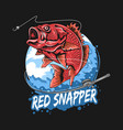 fish red snapper bass fisherman vector image vector image