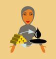 flat icon on theme arabic business arab woman vector image vector image