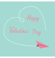 Flying paper plane Dash heart Valentines Day vector image vector image