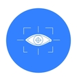 Focus of eye in the virtual reality icon in black vector image