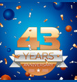 forty three years anniversary celebration design vector image vector image
