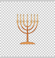 golden hanukkah menorah on transparent background vector image