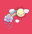 happy sun with rainbow and cute clouds vector image vector image