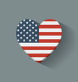 Heart-shaped icon with flag of the USA vector image vector image
