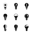 idea bulb icons set simple style vector image vector image