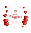 lovely gold outline frame or border with hearts vector image