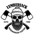 lumberjack skull with crossed axes design vector image vector image