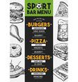 menu sport bar restaurant food template placemat
