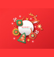 merry christmas papercut decoration greeting card vector image
