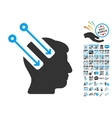 Neural Interface Icon With 2017 Year Bonus vector image vector image