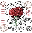 Nothing significant contour drawing rose card for vector image vector image