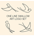 One line swallow art logo set vector image vector image