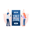 people use smartphone scanning qr code to payment vector image