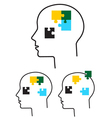 Person with puzzle in head vector image