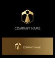 polygon success geometry gold logo vector image
