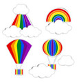 rainbow paper and cloud paper with shadow on vector image