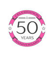 realistic fifty years anniversary celebration logo vector image vector image