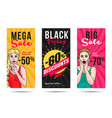 sale flyers set with pop art gilrls vector image