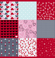 seamless patterns for valentines day set of 9 vector image vector image