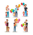 set cute family happy characters vector image