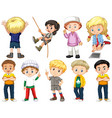 set isolated children with happy face vector image vector image
