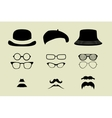 set of glasses mustache and hats vector image