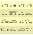 simple cars black outline icons collection eps10 vector image