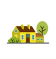 small cartoon lemon yellow house with trees vector image vector image