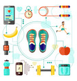sports and healthy lifestyle banner with sneakers vector image