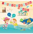 Summer cartoon elements on beach background vector image vector image