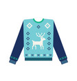 ugly christmas sweater with knitted deer vector image vector image