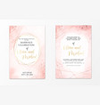 wedding invitation template on dusty pink liquid vector image